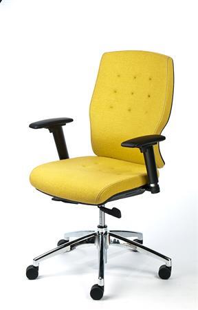"d7057a1eb32eb Kancelárska stolička, nastaviteľné opierky rúk, žltý poťah, hliníkový  podstavec, MAYAH """