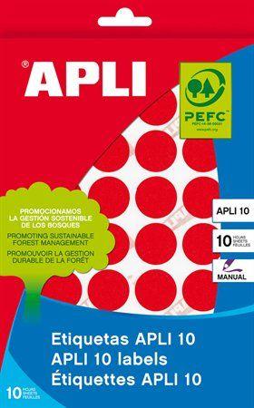 Etikety, okrúhle, priemer: 16 mm, ručne popisovateľné, farebné, APLI, červené, 432 etikiet/bal