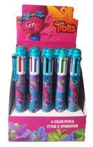 Guličkové pero 6 farebné s motívom TROLLS