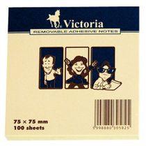 Samolepiaci bloček, 75x75, 100 listov, VICTORIA, žltý