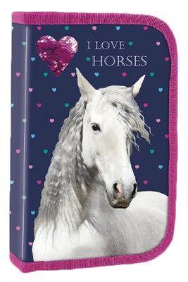 Derform peračník, 1 poschodový, plný, I LOVE HORSES - s motívom bieleho koňa