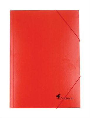 Doska s gumičkou, kartónová, A4, VICTORIA, červená