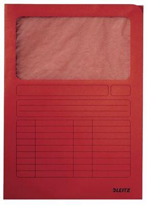 Kartónová doska, s okienkom, A4, LEITZ, červená