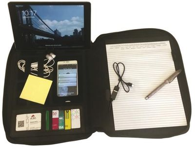 Konferenčná doska, A4, polyester, so zipsom, s nabíjačkou, ALBA, čierna