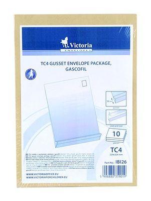 Obálky, TC/4, silikónové s postranným záhybom, 10 ks/bal, hnedý gascofil papier, VICTORIA