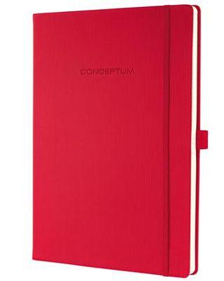 "Poznámkový blok, exkluzívny, A4, linajkový, 194 strán, tvrdá obálka, SIGEL ""Conceptum"", červený"