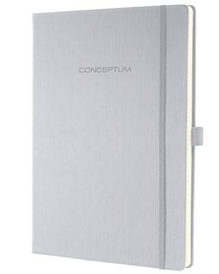 """Poznámkový blok, exkluzívny, A4, štvorčekový, 194 strán, tvrdá obálka, SIGEL """"Conceptum"""", svetlosivý"""