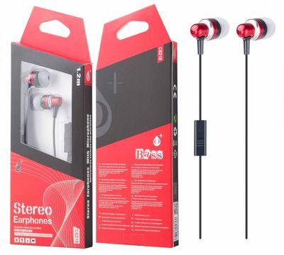 Sluchátka PLUS C6218 s mikrofonem, červená