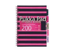 """Špirálový zošit, A4, kockovaný, 100 listov, PUKKA PAD, """"Navy project book"""", ružový"""