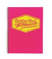 """Špirálový zošit, A4, štvorčekový, 100 listov, PUKKA PAD """"Jotta Neon"""", ružový"""
