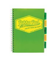 """Špirálový zošit, A4, štvorčekový, 100 listov, PUKKA PAD """"Project book  Neon"""", zelený"""