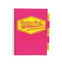 """Špirálový zošit, A4, štvorčekový, 100 listov, PUKKA PAD """"Project book  Neon"""", ružový"""