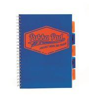 """Špirálový zošit, A4, štvorčekový, 100 listov, PUKKA PAD """"Project book  Neon"""", modrý"""
