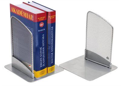 Stojan na knihy, drôtený, 2 ks, ALBA, strieborný